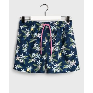 Lemon Flowers Swim Shorts / BLUE