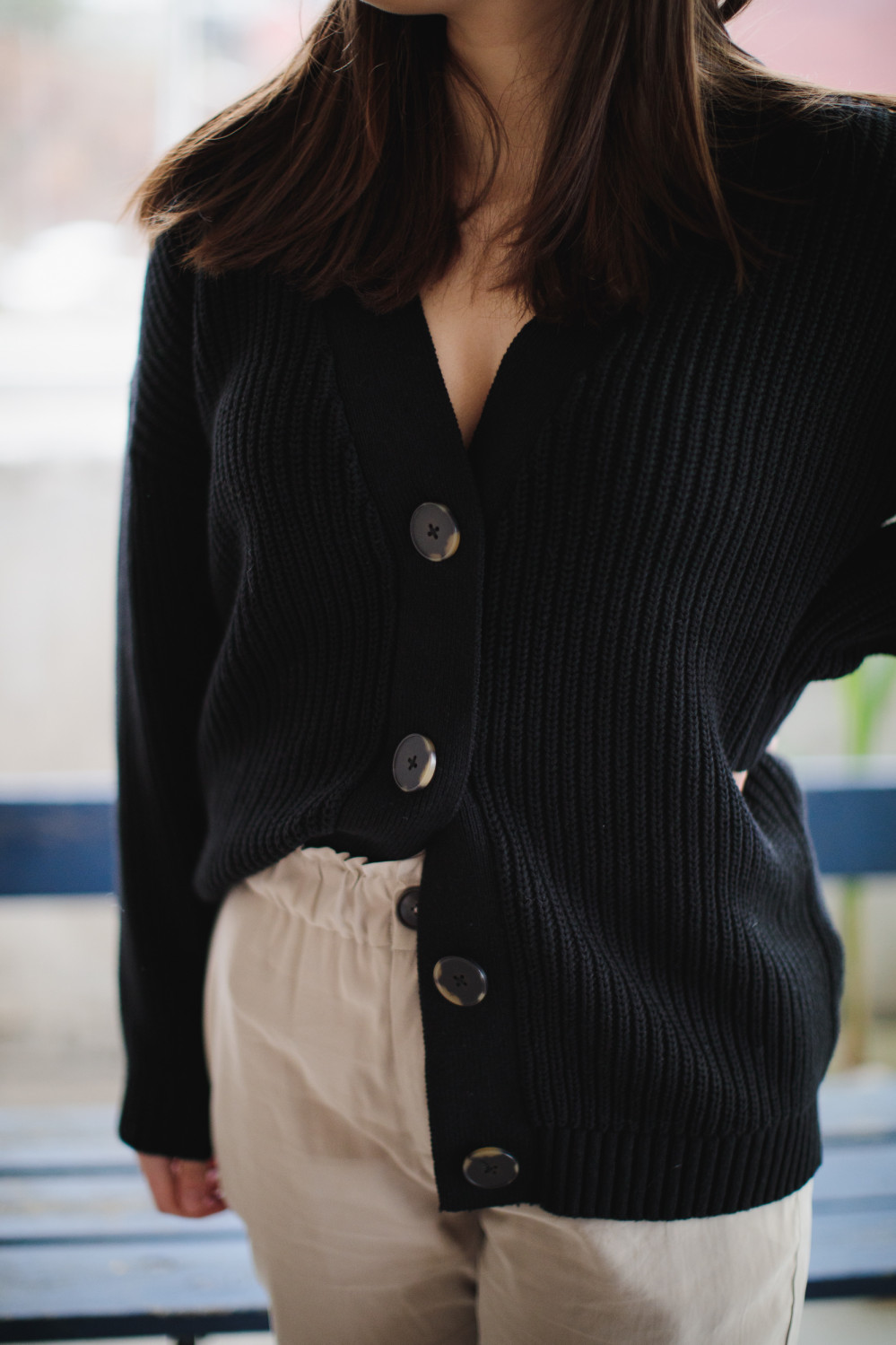 bailey ls knit button cardigan black
