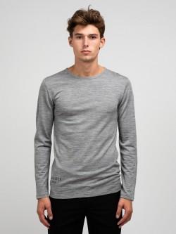 Curve wool tee LS, grey melange