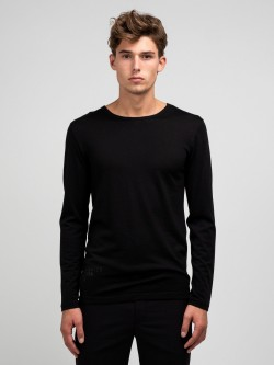 Curve wool tee LS, black