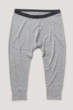Base wool long john, grey melange