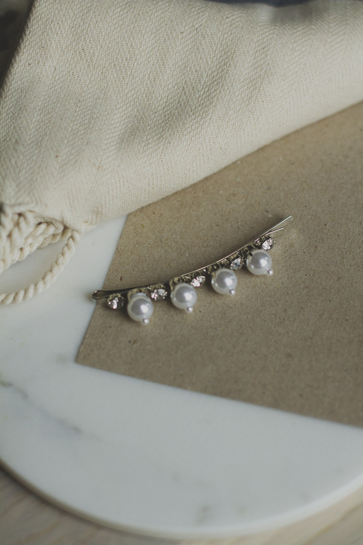 Hårspenne perler / sølv, 15079