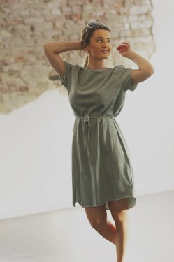 Leka Dress, green melange
