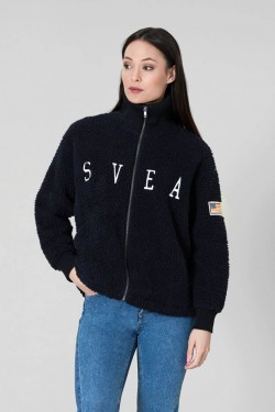 Kathryn Pile Zip Sweater, Dark Navy