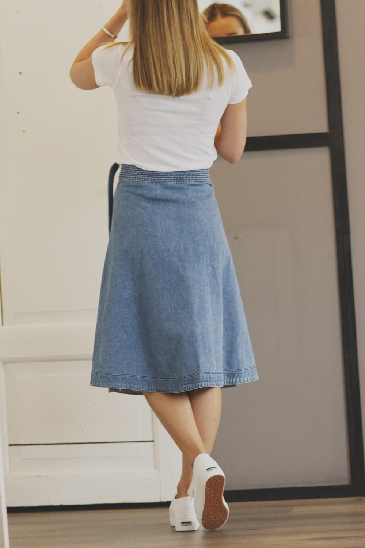 Jenner midi wrap, denim skirt