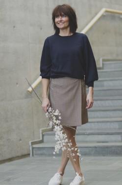 Bonni LS knit o-neck, dark sapphire