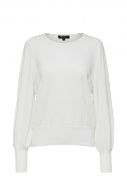 Bonni ls knit o-neck, snow white