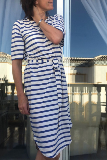 Ivy 2/4 beach dress, dazzling blue stripes