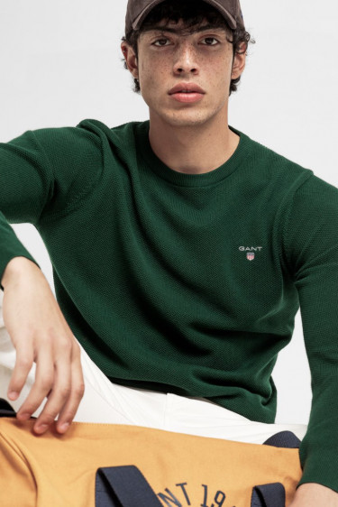 Cotton pique crew, green