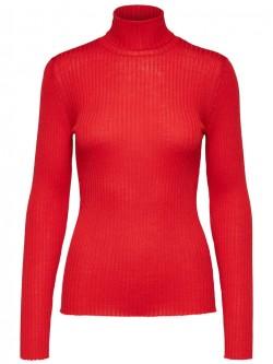 Costa ls knit rib rollneck, true red