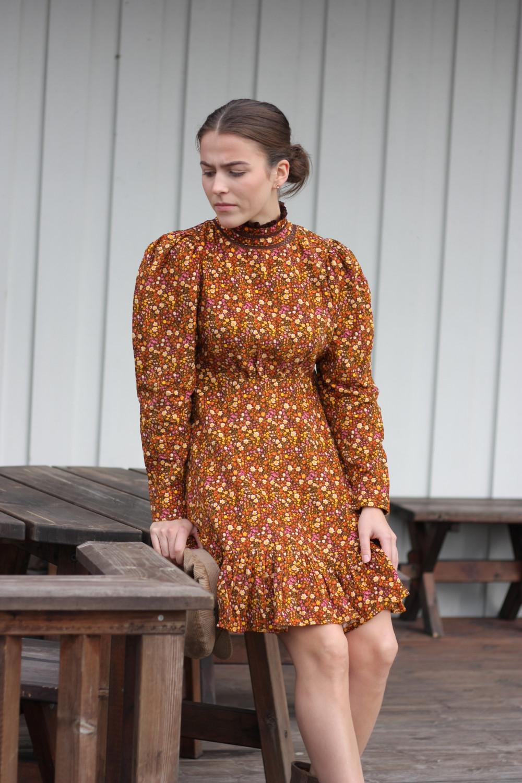 Babycord Mini Dress Bloom