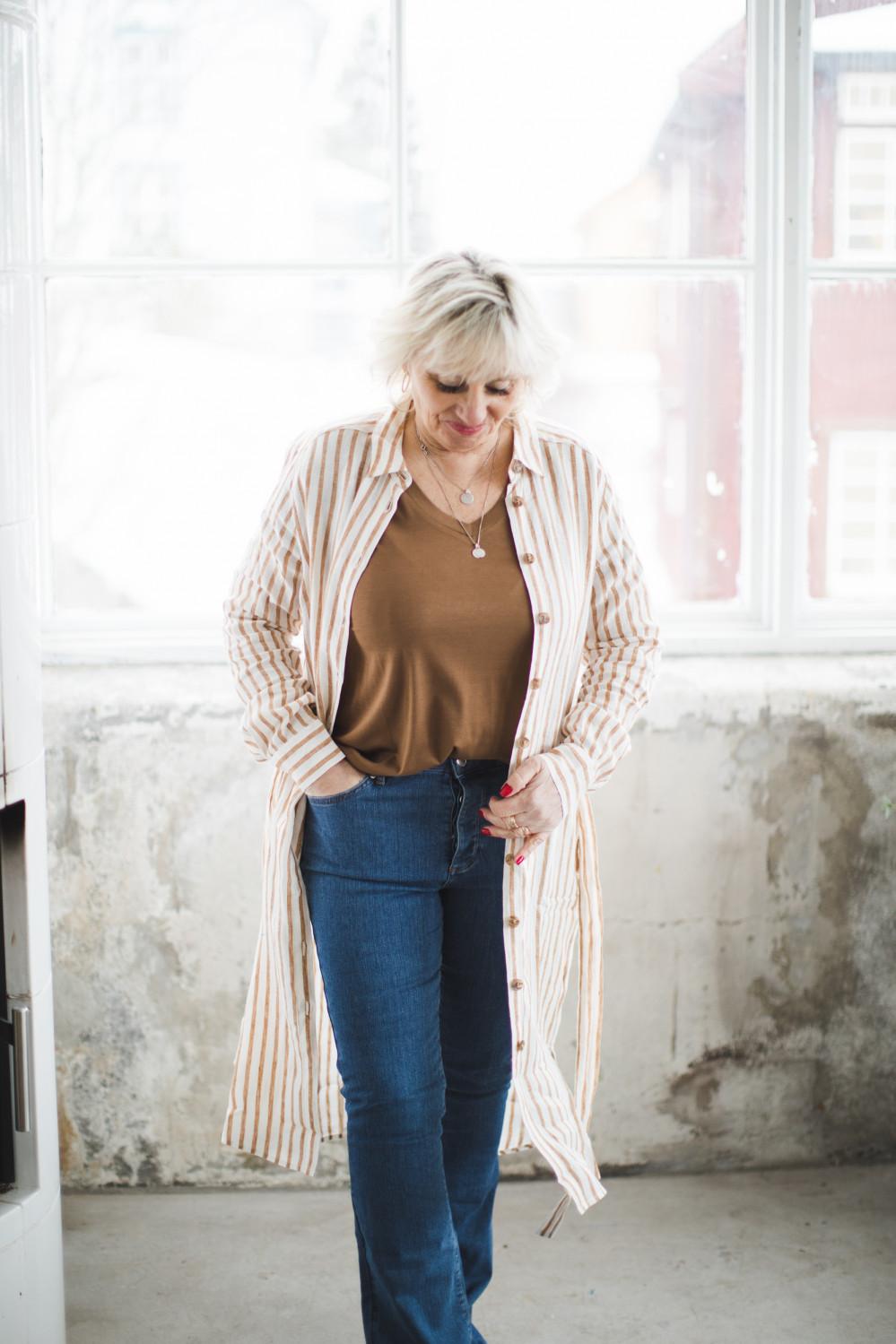Bondie dress Stripe Linen