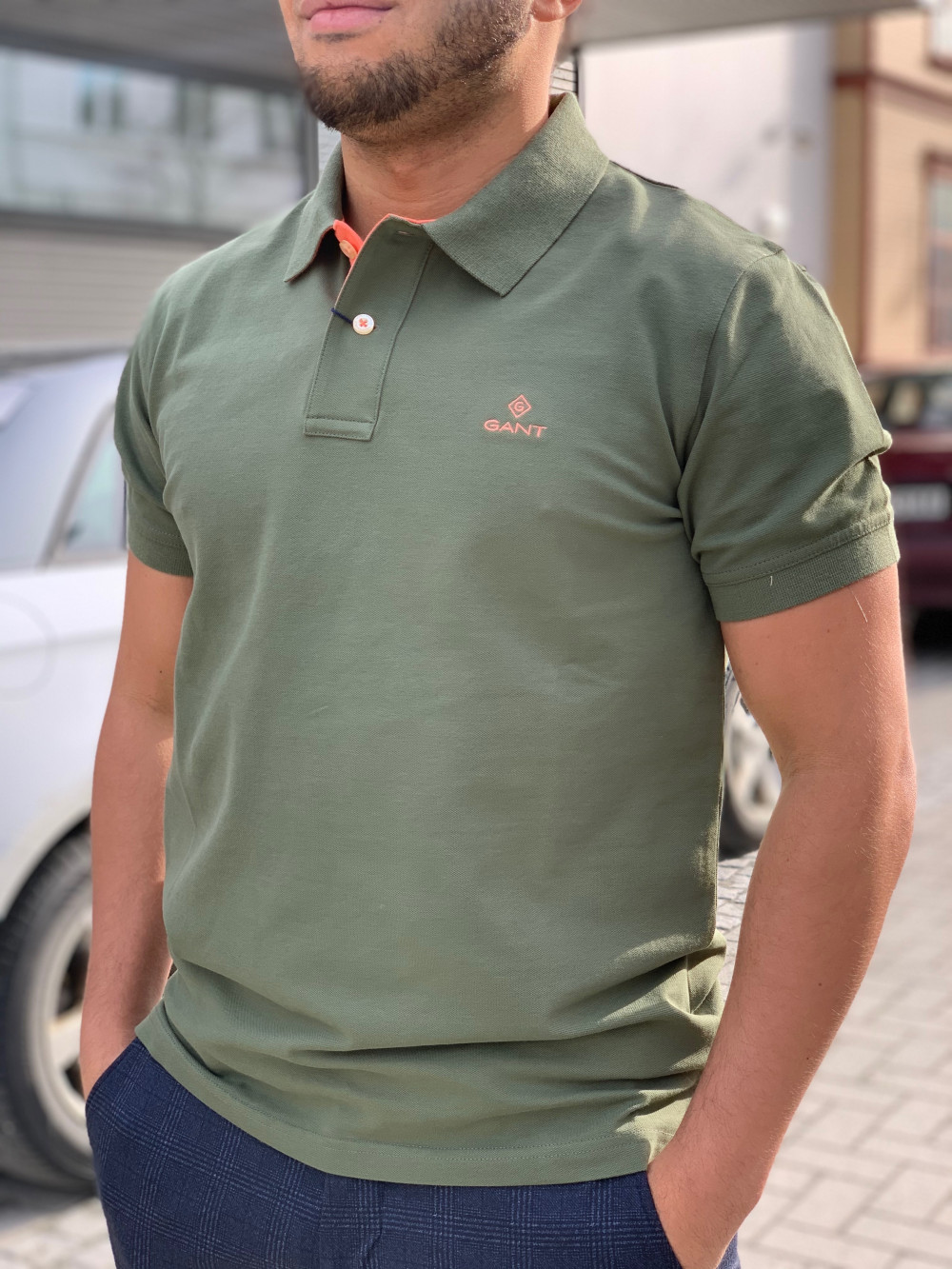 Contrast collar pique ss rugger Army