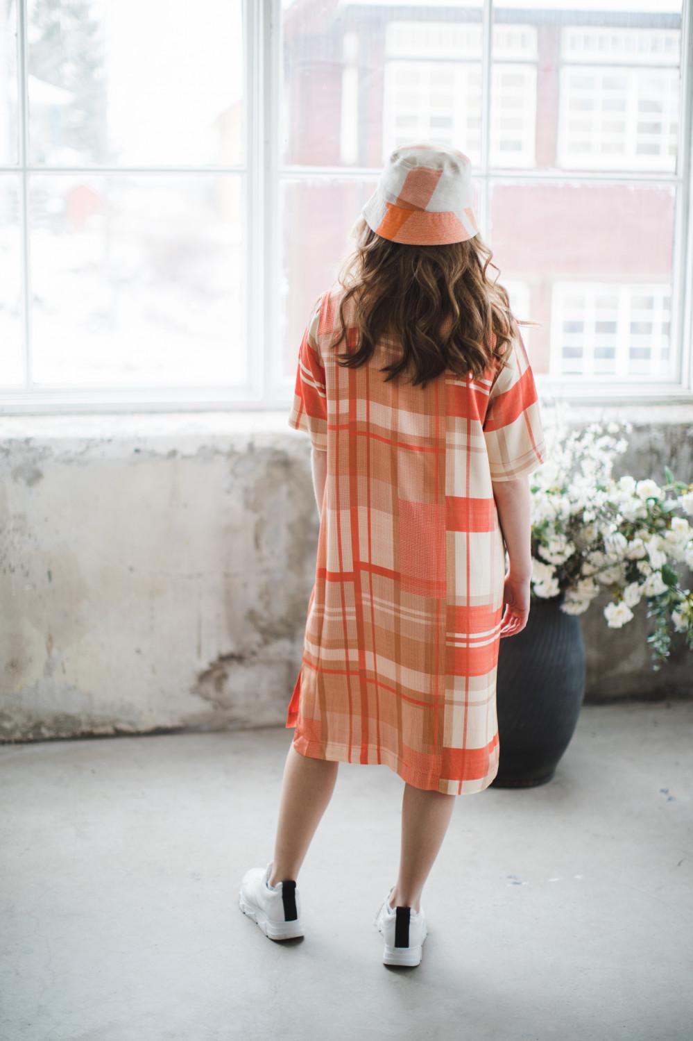 Key dress check orange check