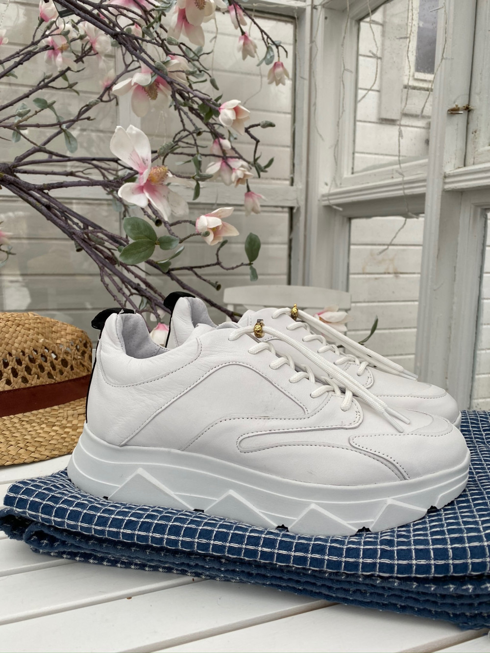 Portia white leather