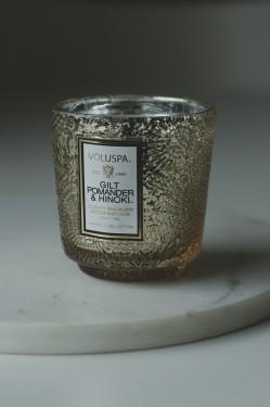 Gilt pomander & Hin - Boxed Mini glass Candle