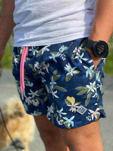 Lemon Flowers Swim Shorts / BLUE