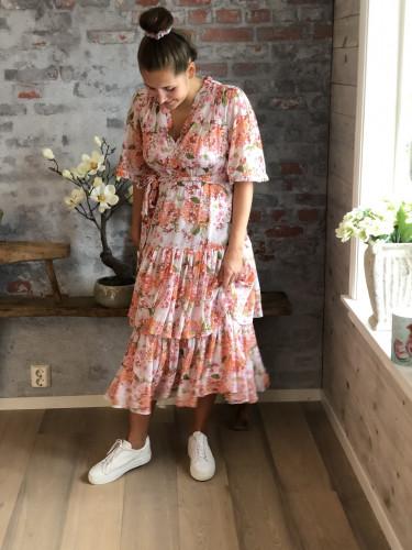 Chiffon Flounce Midi Dress Lilac Bouqet