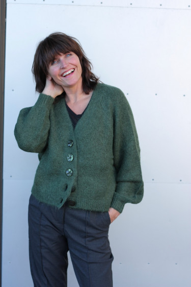 Hairy knit cardigan Green