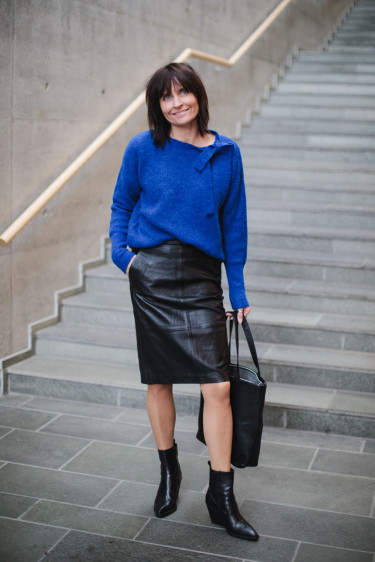 Kylie 635 Black Leather Skirt