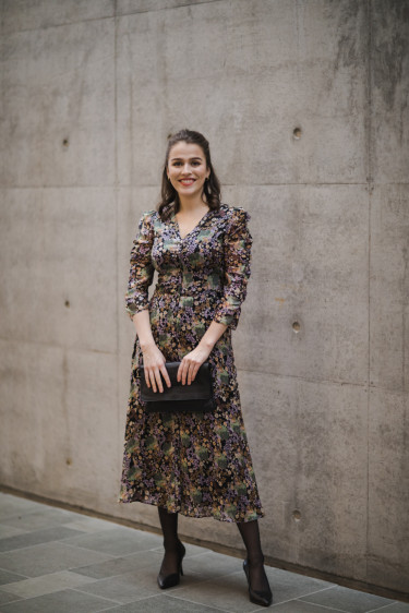 Soft Organza Ruching Midi Dress