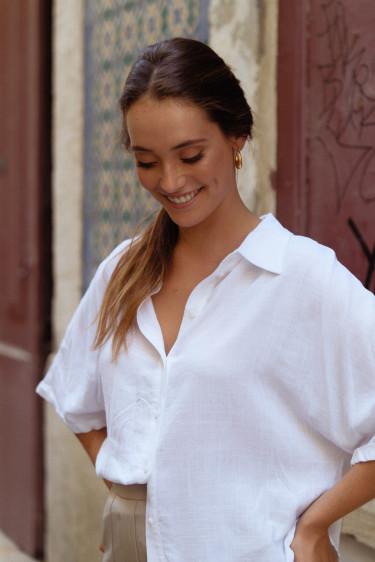Confident short dull white linen