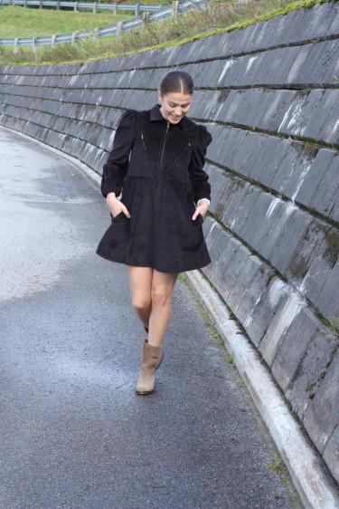 Corduroy mini dress black