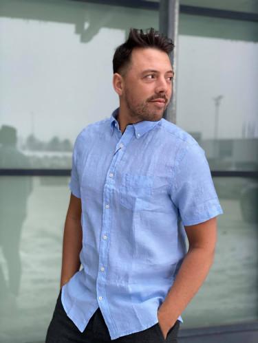 Reg Linen Shirt SS BD Capri Blue