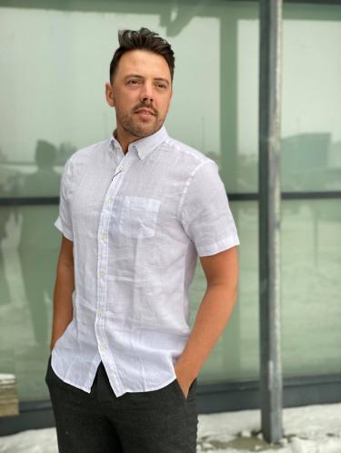 Reg Linen Shirt SS BD White