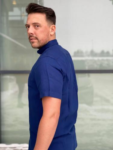 Reg Linen Shirt SS BD Navy